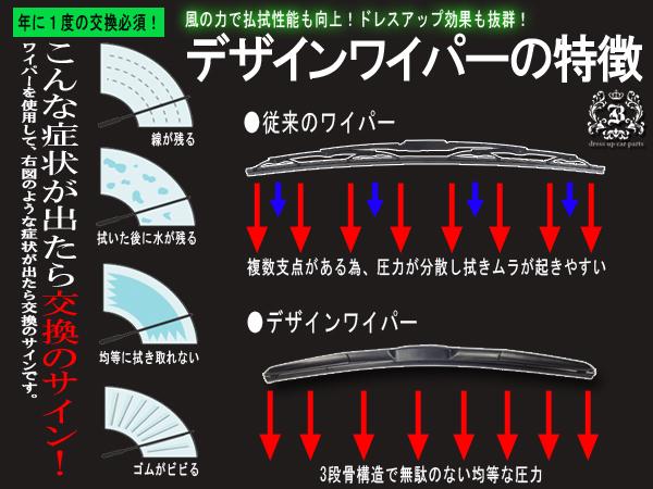 !三菱 ギャランフォルティススポーツバックCX系 デザインワイパー 左右セット